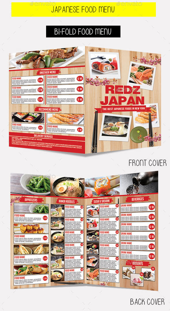 Japanese Bi-Fold Food Menu