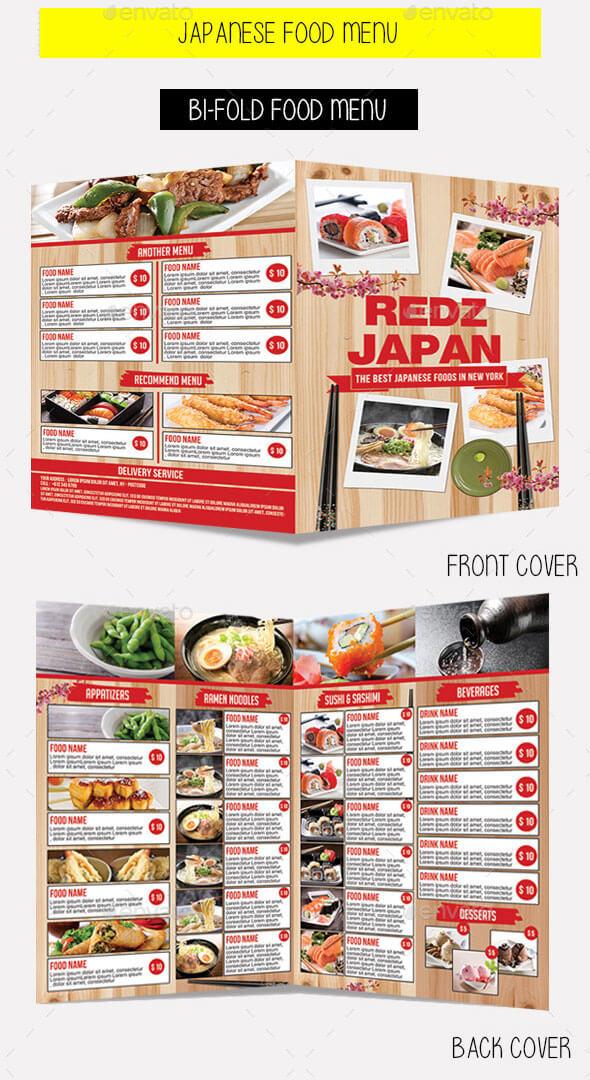 Japanese Bi-Fold Food Menu