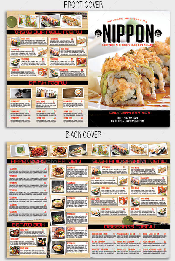 Japanese Bifold Food Menu