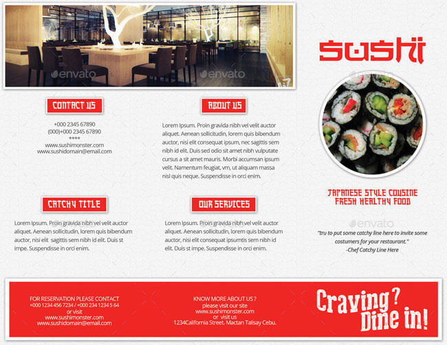 Japanese Style Menu Trifold