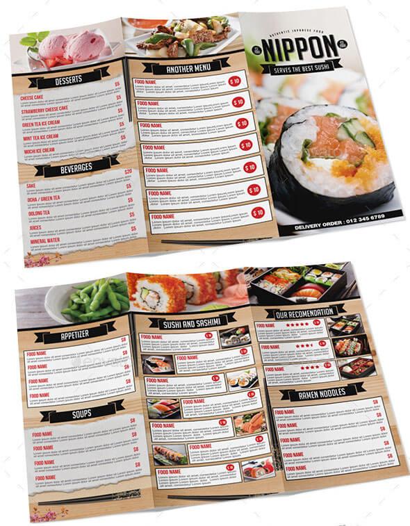 Japanese Tri-fold Menu