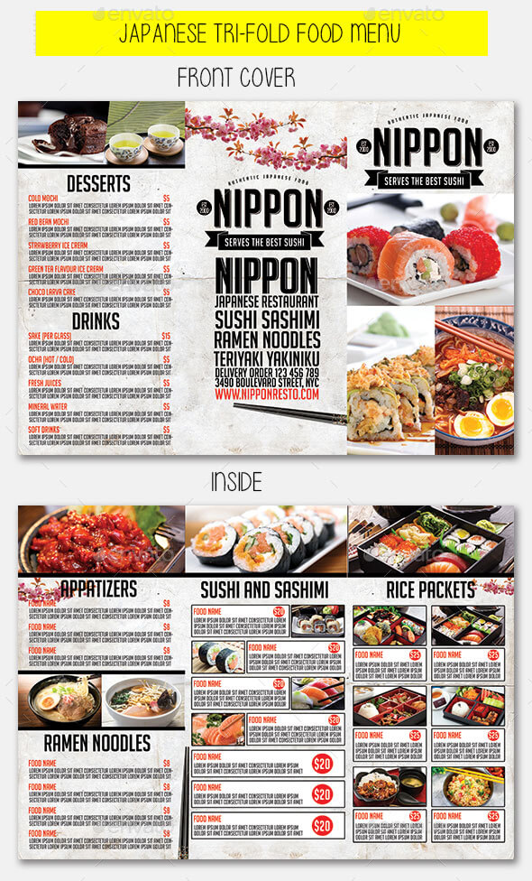 Japanese Trifold Food Menu