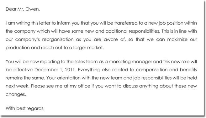 Job Transfer Confirmation Letter Template, Sample