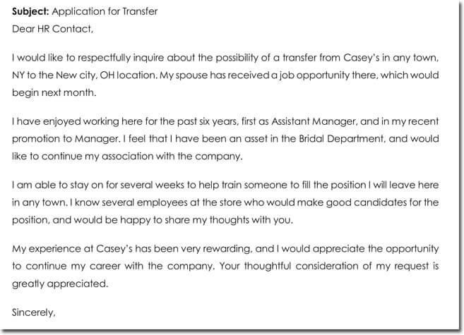 job transfer relocation request letter example