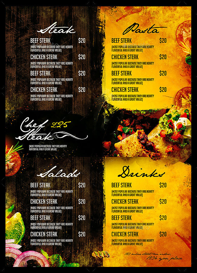 Mexican Cafe Menu Template EPS