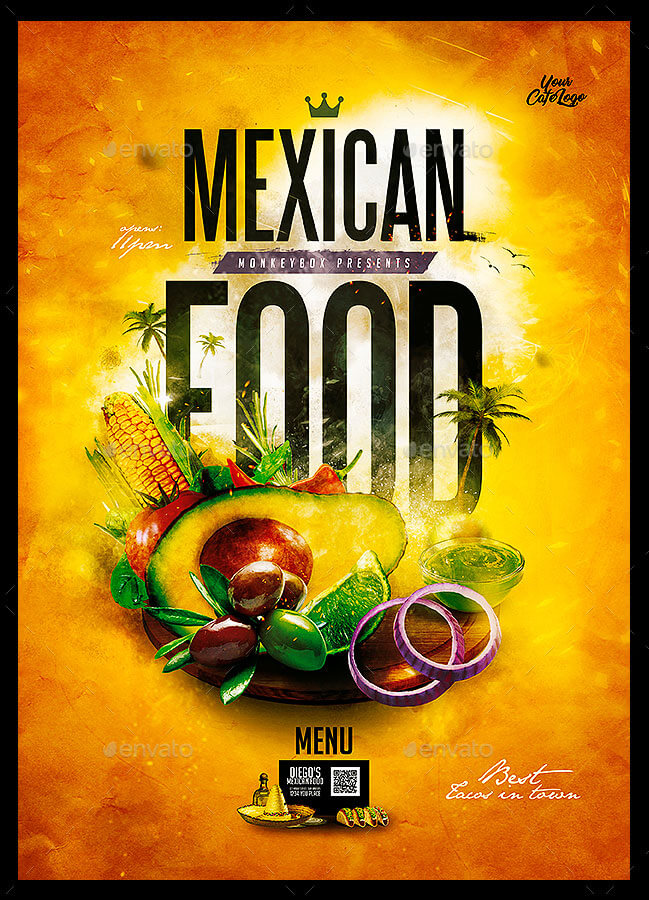 Mexican Cafe Menu Template PSD