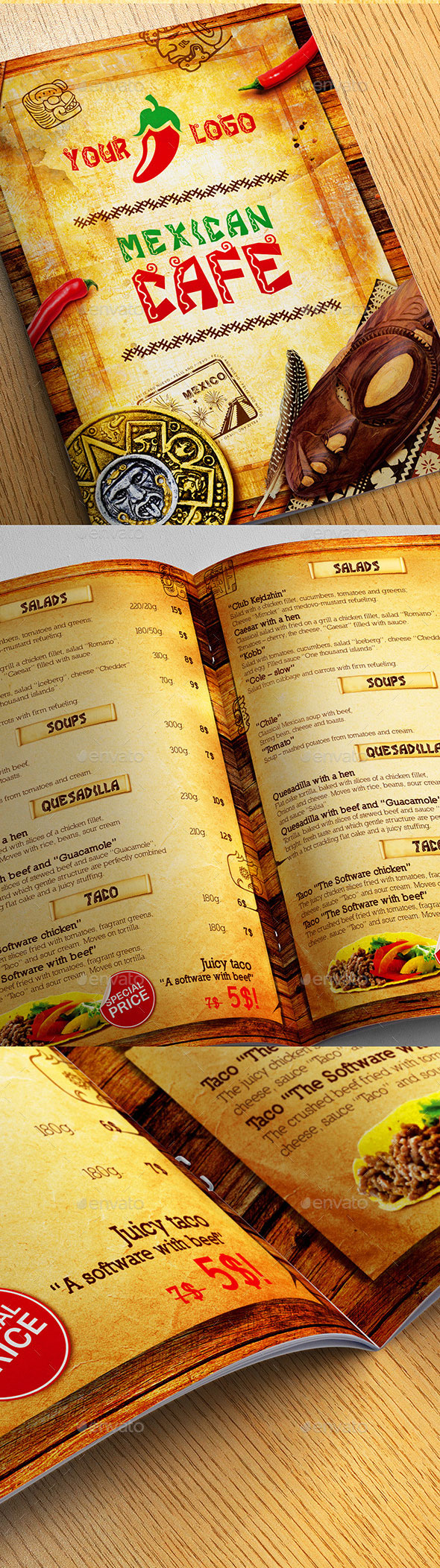 Mexican Cafe Menu Template