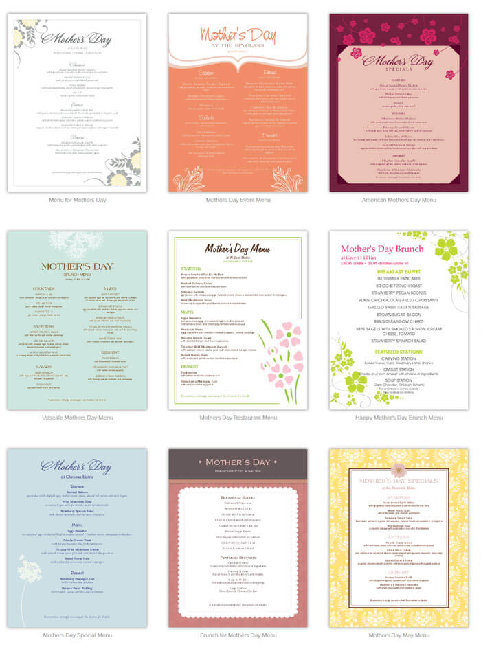 Special Mothers Day Menu Templates Free Printables