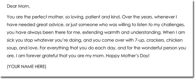 Mothers Day Thank You Note Wording