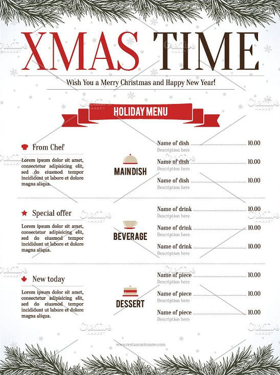 New Year Menu Design Download PSD