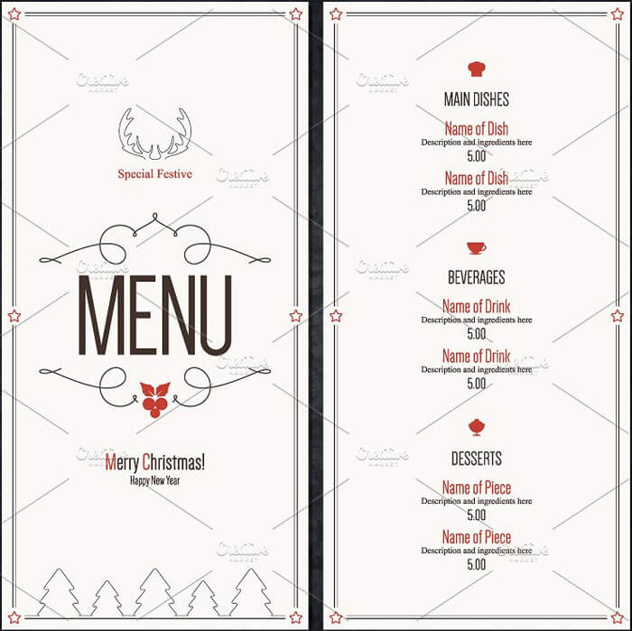 New Year Restaurant Menu Templates