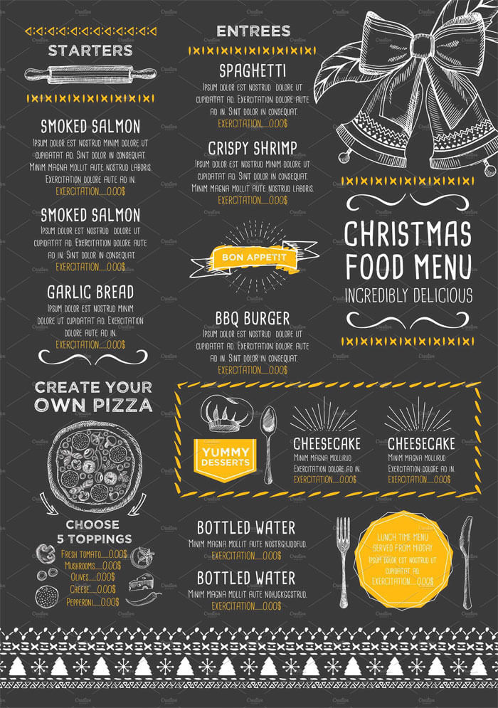 New year eve menu templates free download