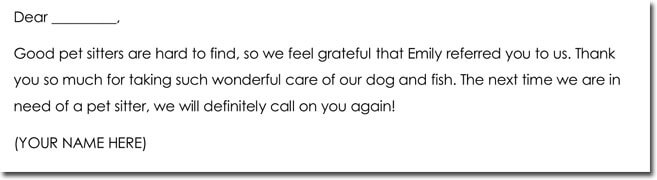 Pet Sitter Thank You Notes Wording