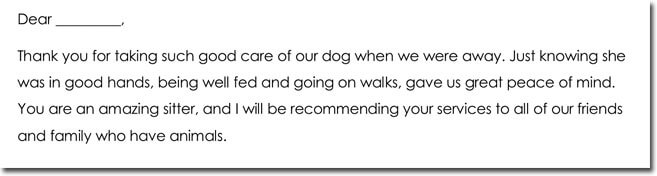 Pet Sitting Thank You Note Example