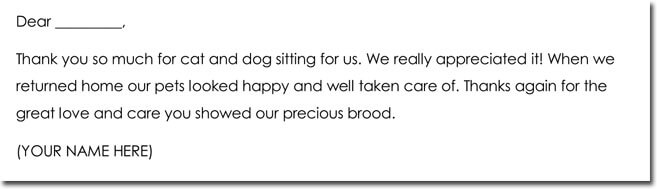 Pet Sitting Thank You Note Wording