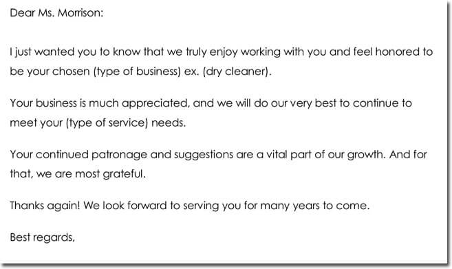 Sample Customer Thank You Letter