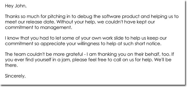 Sample Employee Thank You Letter Template