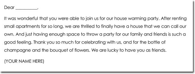 Sample House Warming Gift Thank You Note