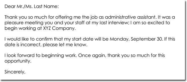Sample Job Offer Thank You Letter