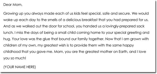 Sample Mothers Day Thank You Letter