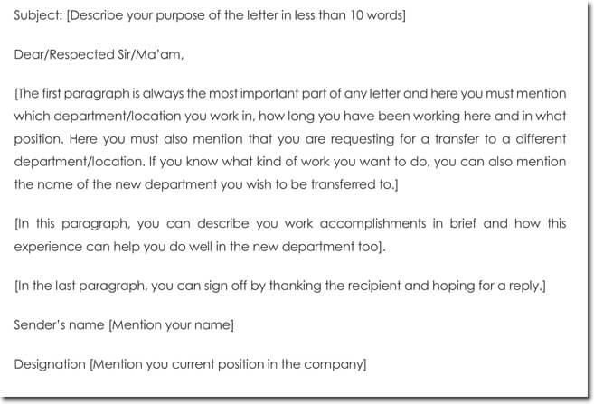 Sample Transfer Letter Format