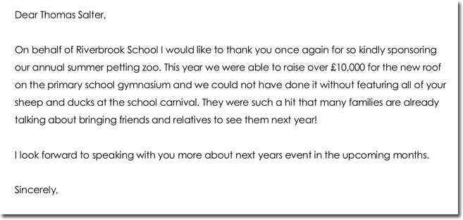 School Sponsorship Thank You Letter Format