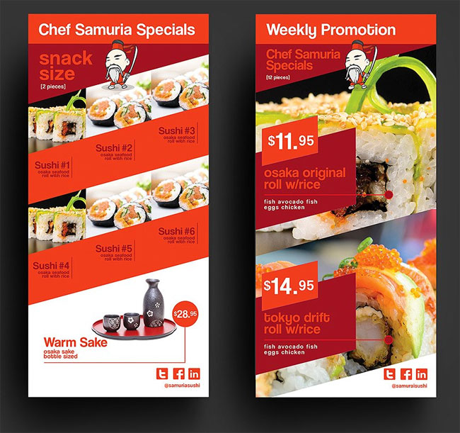 Sushi restaurant menu design template free download