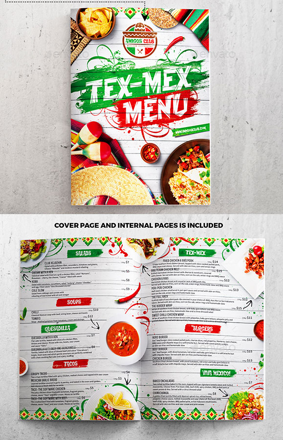 Tex Mex Mexican Menu Template