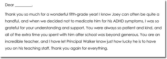 Teacher Thank You Note Templates  Wording Ideas