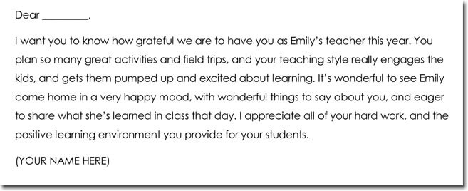 Teacher Thank You Note Templates and wording