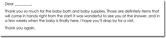 Thank You Note Wording for Baby Shower Gift