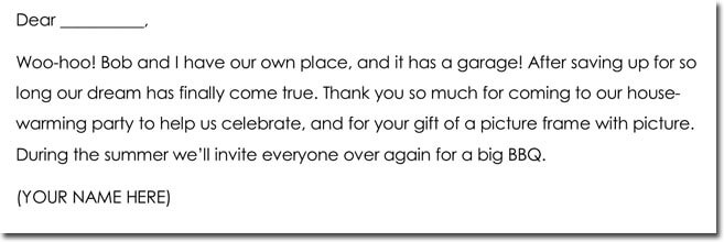 Thank You Note Wording for House Warming Gift
