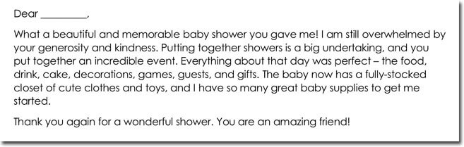 Sample Thank You Note to Hostess of Baby Shower