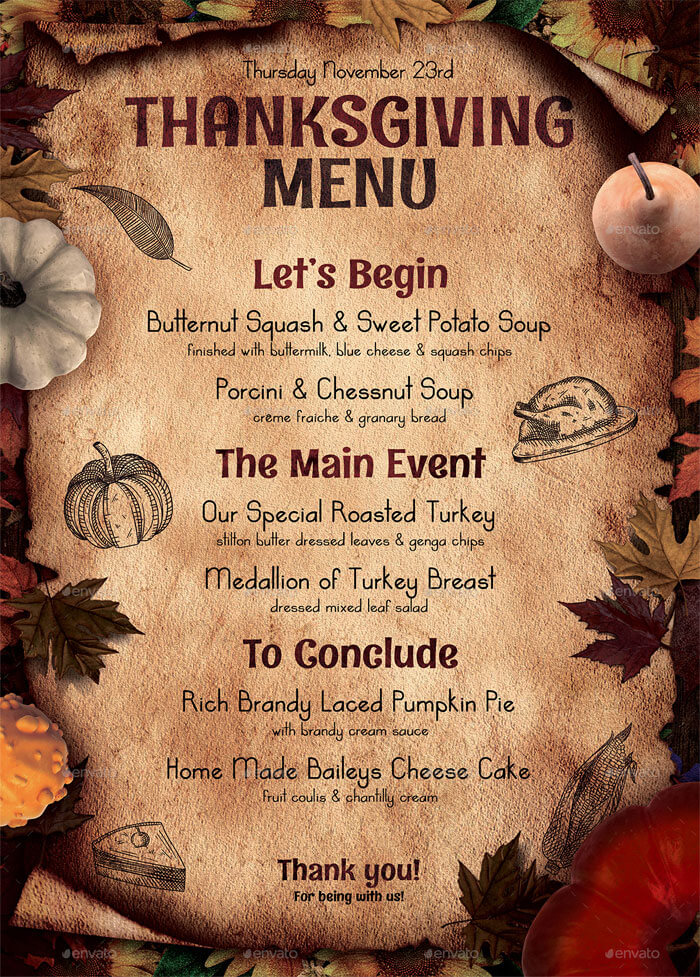 Thanksgiving Restaurant Menu Templates