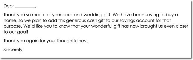 Wedding Cash Gift Thank You Letter Format