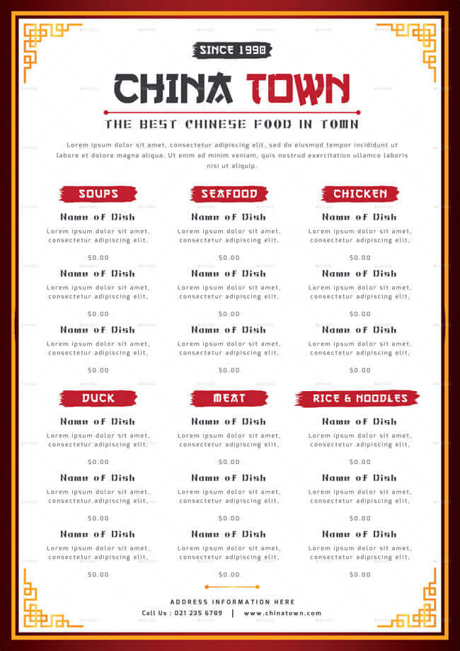 chinese food menu template