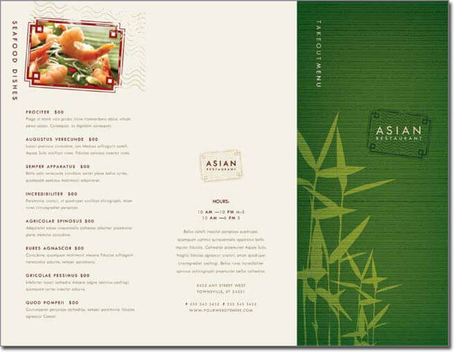 chinese menu template microsoft word