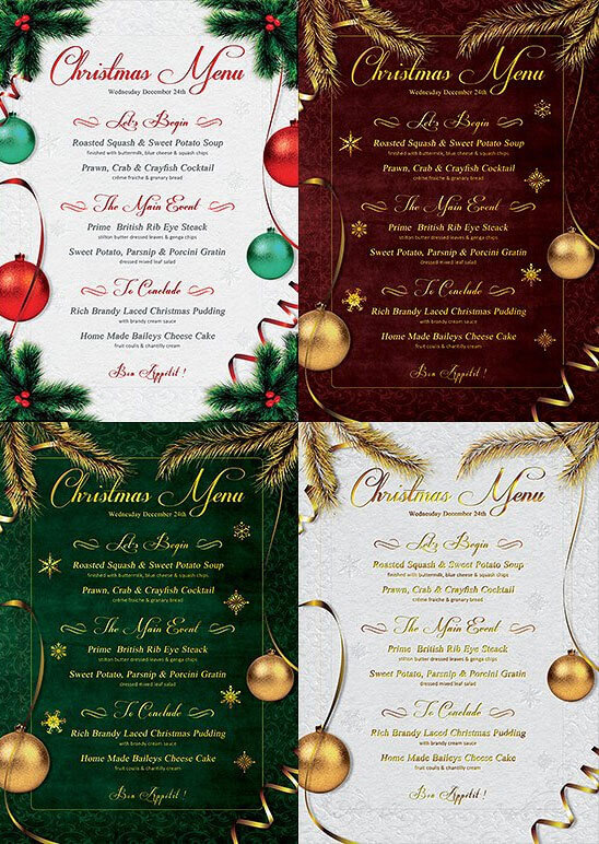 Best Collection Of Christmas Menu Templates  Christmas Menu Word Template