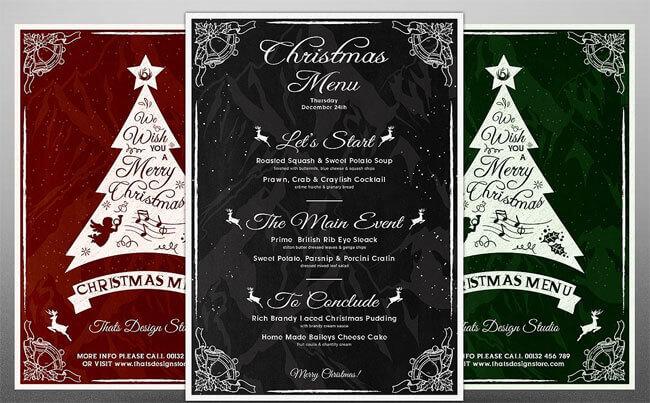 free christmas holiday menu templates