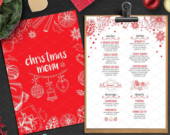 free christmas menu templates uk