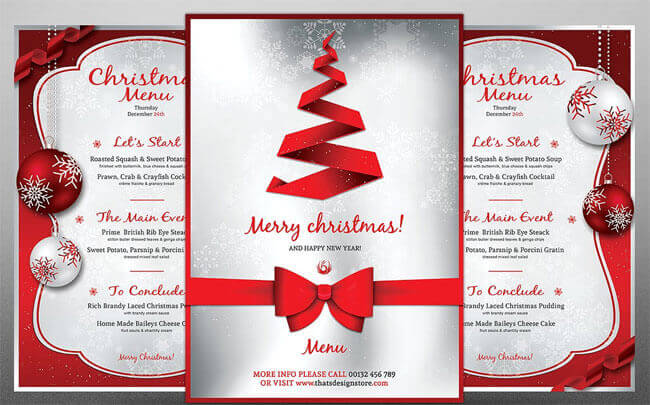 Christmas Menu Design In Red  Free Xmas Menu Templates