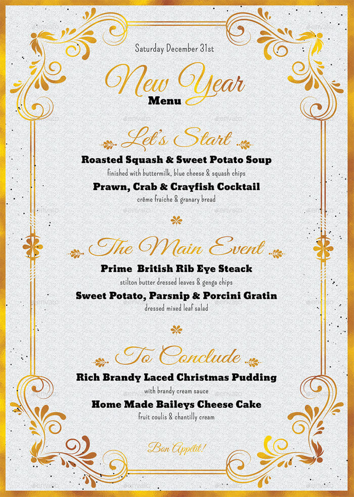 free new years menu template