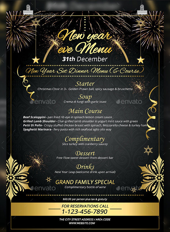 new year menu design