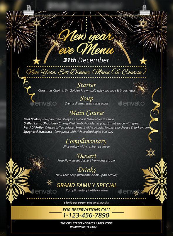 new year menu design