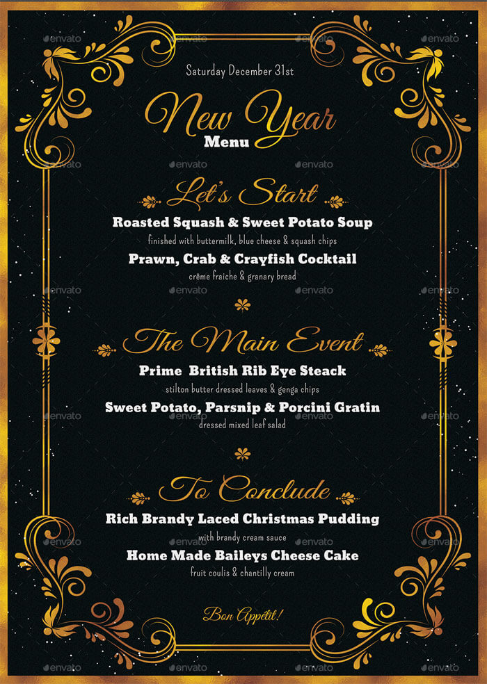 new years eve menu template word free