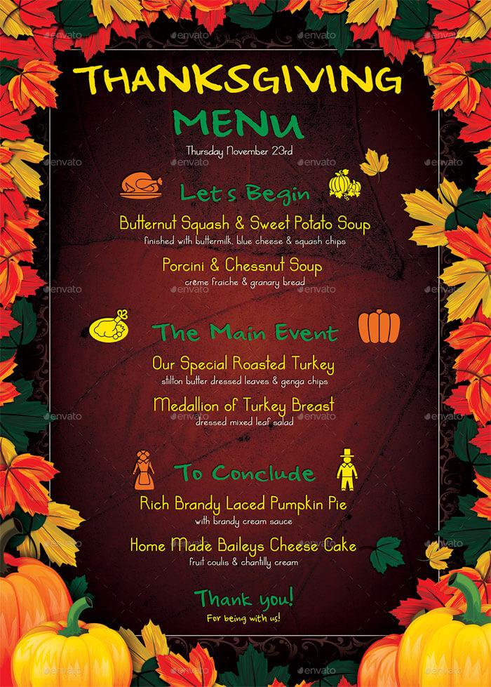 thanksgiving menu blank