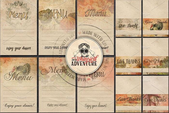 thanksgiving menu planner printable