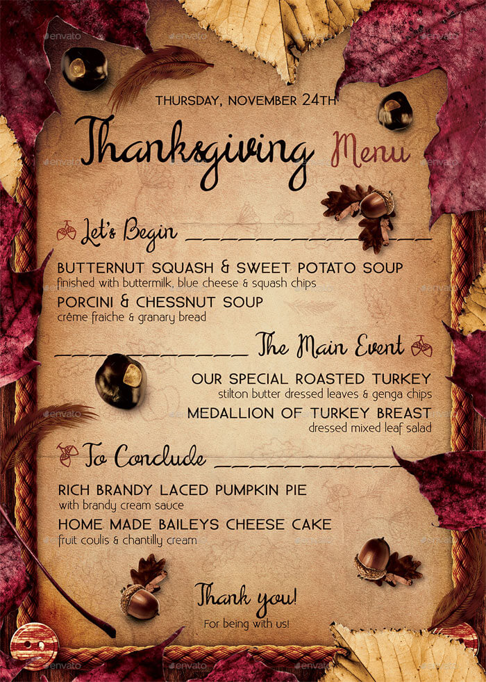 thanksgiving menu template word