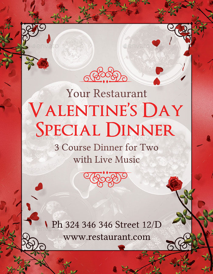 valentines day special dinner menu templates