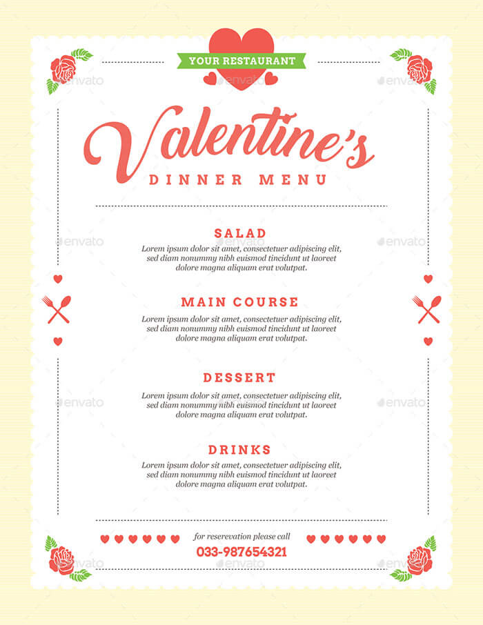 ValentineS Day Menu Templates   Menu Design In Psd Eps Pdf